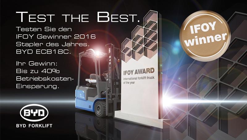 Test the Best IFOY Gewinner 2016 Stapler des Jahres BYD ECB18C