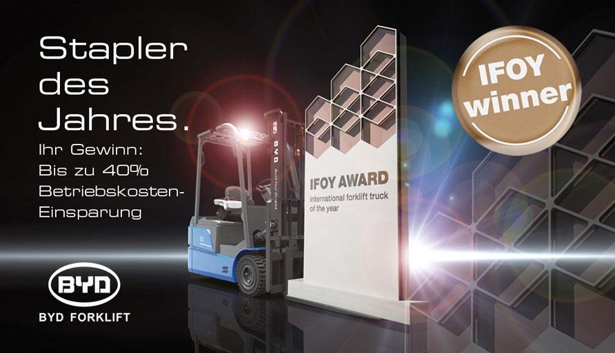 BYD und Lifepowertec Schwanau mit IFOY Gewinner BYD ECB18C auf der CeMAT2016