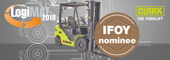LogiMAT 2019 mit IFOY nominee Clark Gabelstapler S-Serie bei Powertec Schwanau - Logsites-Campus-News