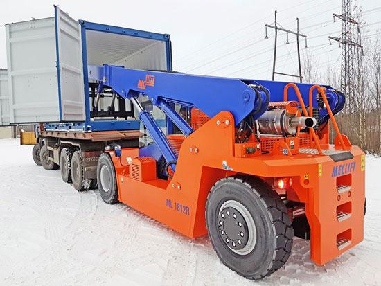 Neu bei Powertec: MECLIFT Kompakt-Schwerlaststapler mit 16-50 Tonnen Tragkraft der in Container fahren kann