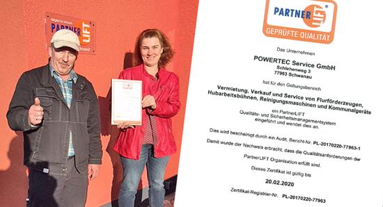 PartnerLIFT Qualitäts- und Sicherheitsmanagement-System Zertifizierung für Powertec Service Schwanau