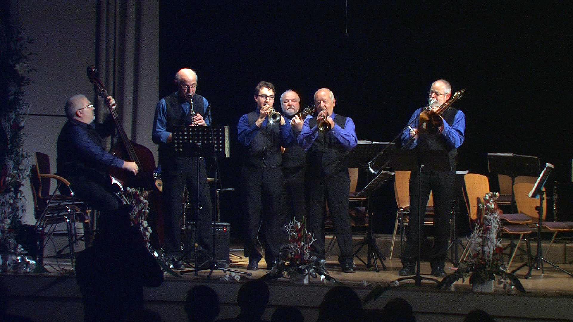 Die New Orleans City Stompers (v.l.): Klaus Brückner, Alfred Abel, Raphael Hermann, Bobby Schwarz, Toni Ehmann und Luwerl Wittmann.