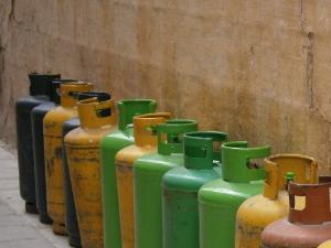 Stapler mit Treibgasantrieb und Gasflaschen-Anschluss